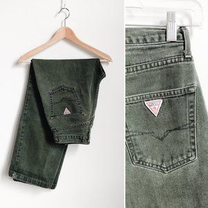 Vintage Guess High Rise Wide Leg Green Jeans